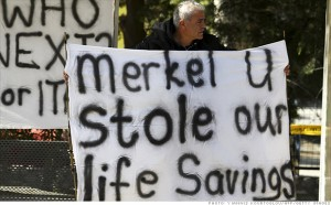 """The Cyprus """"bail-in"""" is no more popular today than when it was hatched last spring. [Credit: CNNMoney.com]"""