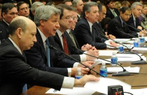 Wall Street titans successfully lobbied Congress for TARP in 2008.  Their success made Obamacare possible.  [Credit: UPI]