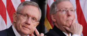 Media reports indicate that Senate Majority Leader Harry Reid (D-NV) and Republican Leader Mitch McConnell (R-KY) are nearing an agreement on temporarily funding the government and increasing its borrowing authority.  [Credit: Huffington Post]