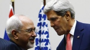 US Secretary of State John Kerry shares a moment with his Iranian counterpart, Mohammed Javad Zarif, after concluding an agreement for relaxed sanctions and renewed talks.  [Credit: BBC]