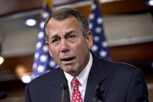 An angry John Boehner (R-OH) lashed out at conservative groups who opposed the budget deal.  The deal strengthens his hand with his caucus and in negotiations over changes to Obamacare.  [Credit: Washington Post]