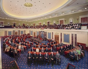 All 100 Senators gathered last year for this photo. They have done little since. Have they become irrelevant? [Credit: senate.gov]