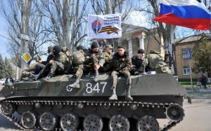Ukrainian army personnel dispatched to reclaim a city from pro-Russian forces decided instead to defect to the Russian side.  [Credit: AFP/Getty]