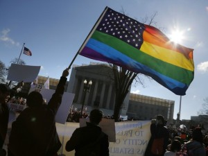 Demonstrators call on the Supreme Court to validate same-sex marriage, a ruling that Muslims would oppose in the short term but could benefit them in the longer term.  [Credit: Breitbart]