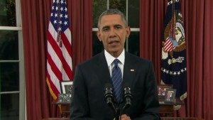 President Obama sounded presidential Sunday night in his Oval Office address. [Credit: CNN]